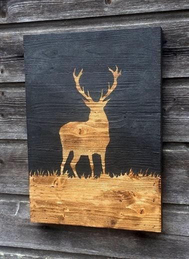 Yukon Geyiği Tablo Siyah-Oldwooddesign